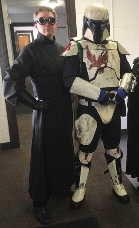 Customer photos wearing Mad Scientist and Bounty Hunter