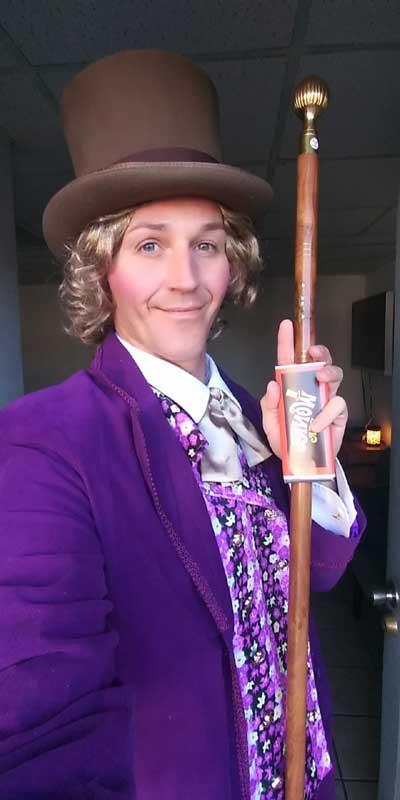 Customer photos wearing Willy Wonka