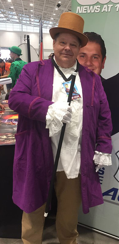 Customer photos wearing Willy Wonka at the Con