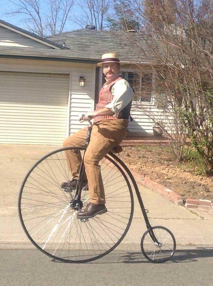Customer photos wearing Pedalling a Pennyfarthing