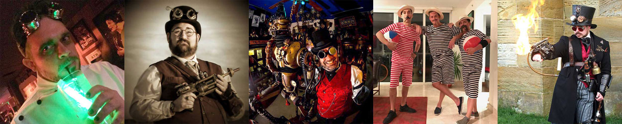 Historical Emporium Customers wearing Steampunk Costumes